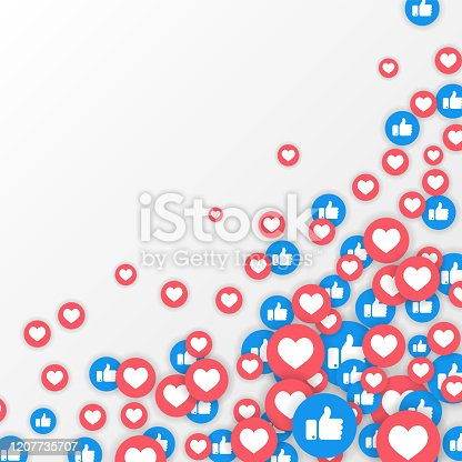 Vector like and love icons background. Social media vector illustration, like and love icons.