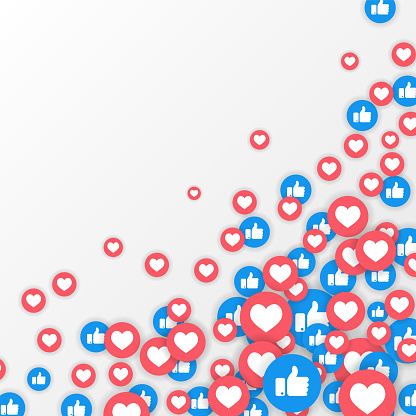 Vector like and love icons background. Social media vector illustration, like and love icons