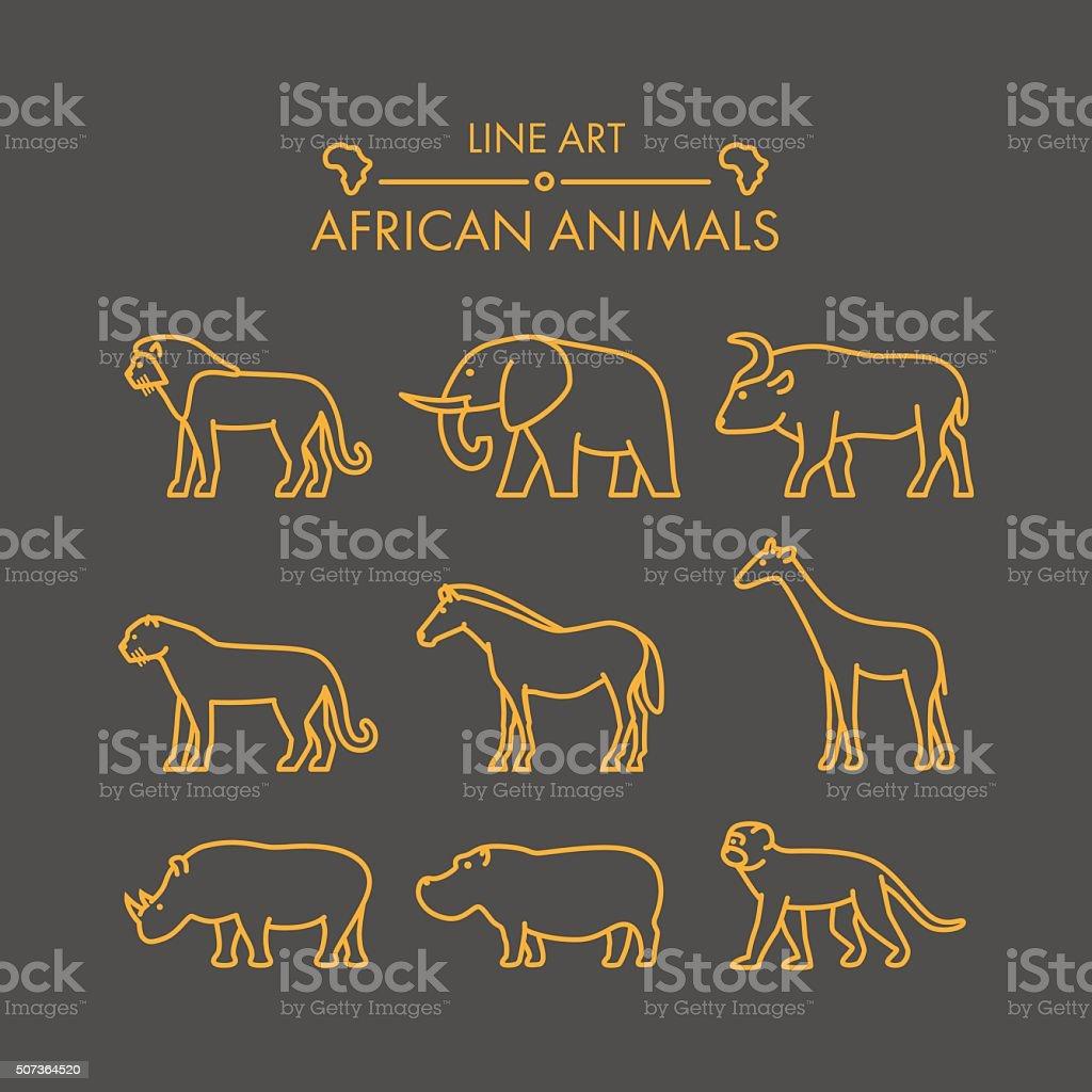 Vector line african animals icon set. vector art illustration
