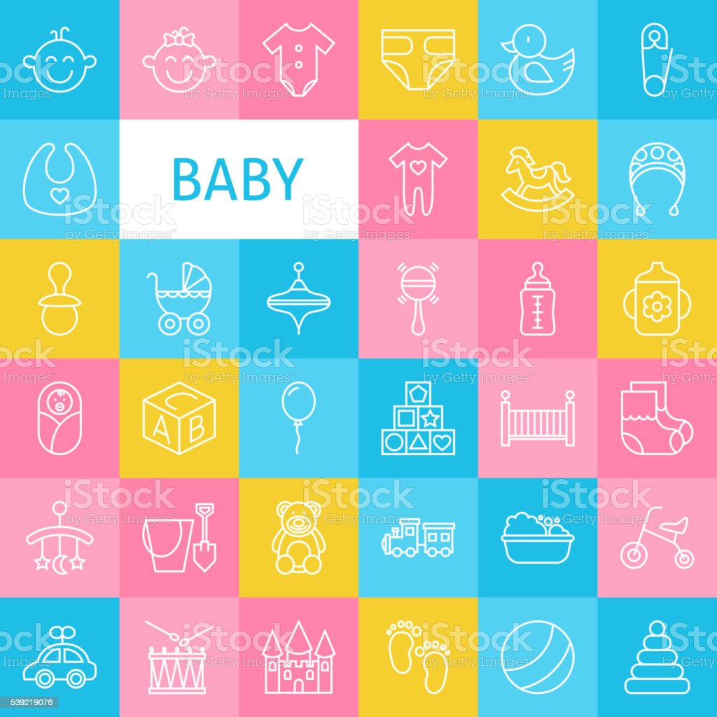Vector Line Art Baby and Newborn Toys Icons Set vector art illustration