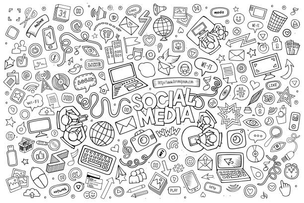 Vector line art Doodle cartoon set of objects and symbols Vector line art Doodle cartoon set of objects and symbols on the Social Media theme following moving activity stock illustrations