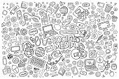 Vector line art Doodle cartoon set of objects and symbols