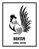 istock Vector Line Art Illustration logo of a bantam. It is standing. It is black and white. 1219271500