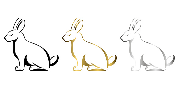 Vector Line Art Illustration of a rabbit. It is sitting there art three color black gold and silver