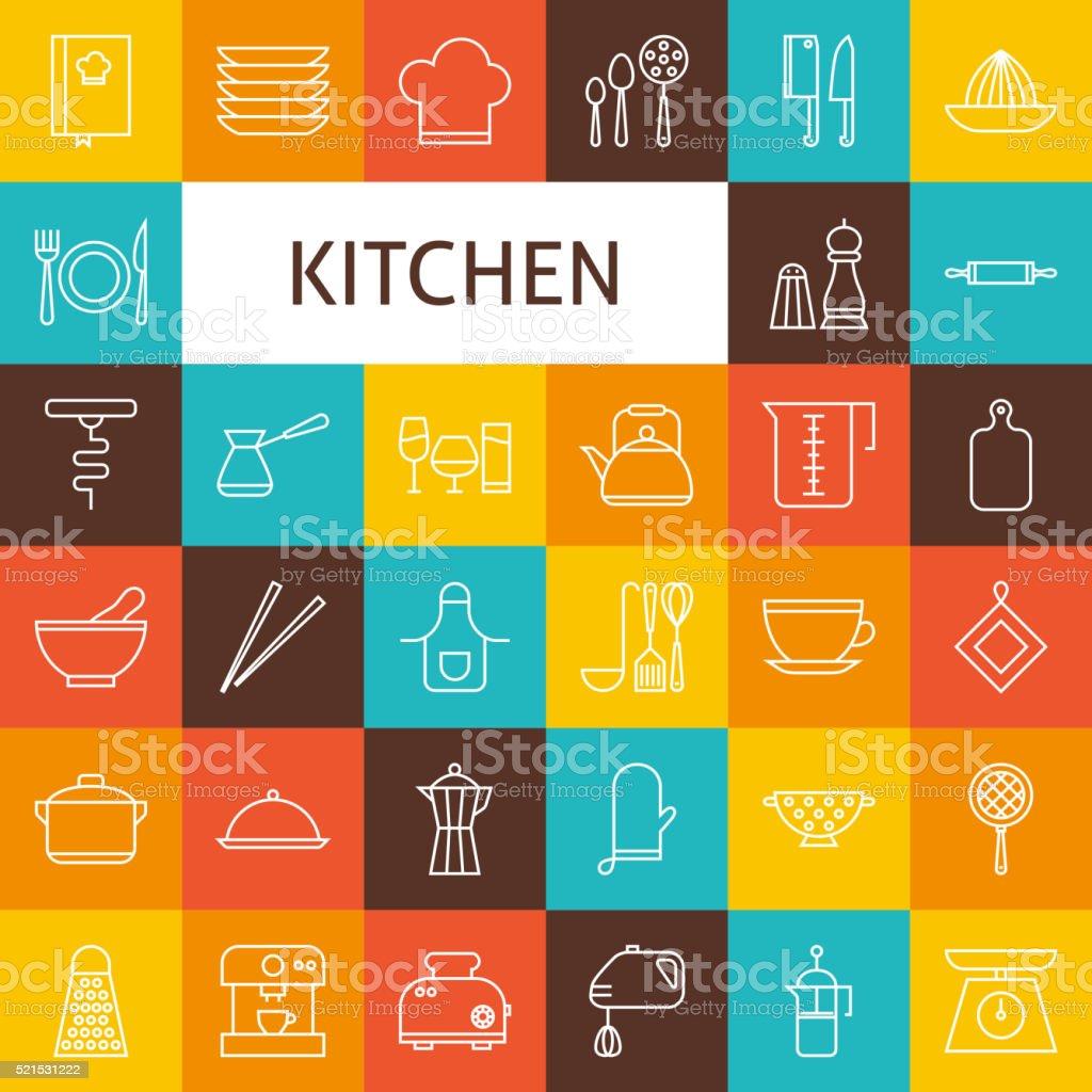 Ilustración de Vector De Línea Arte Utensilios De Cocina Iconos ...