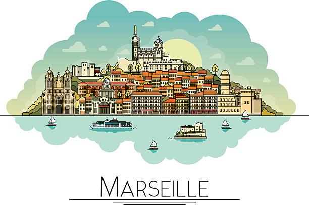 stockillustraties, clipart, cartoons en iconen met vector line art marseille, france, travel landmarks and architecture icon - marseille