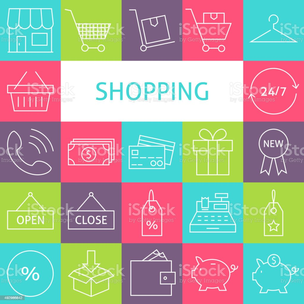 Vector Line Art Modern Shopping and Retail Icons Set vector art illustration