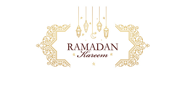 Vector line art Ramadan Kareem card. Vintage banner for Ramadan wishing.