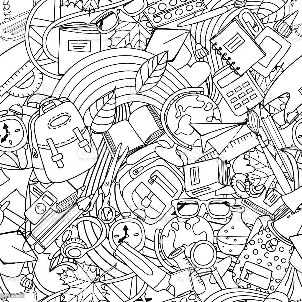 Line Art School : Vector line art school seamless pattern education and