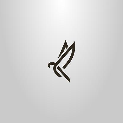 vector line art sign of an abstract flying bird