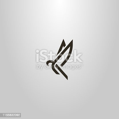 black and white simple vector line art sign of an abstract flying bird