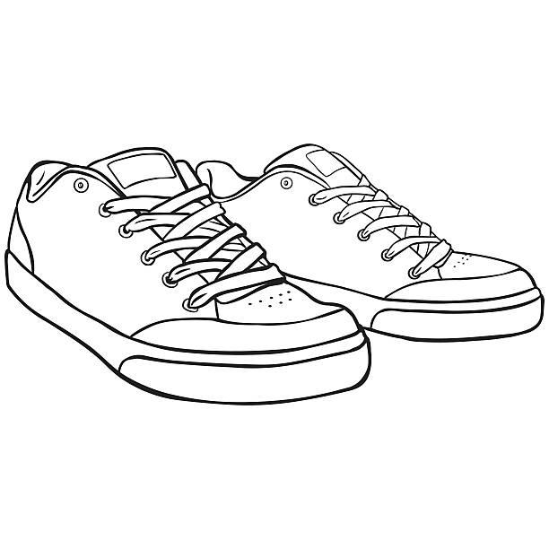 Line Art Shoes : Royalty free skateboard shoes clip art vector images