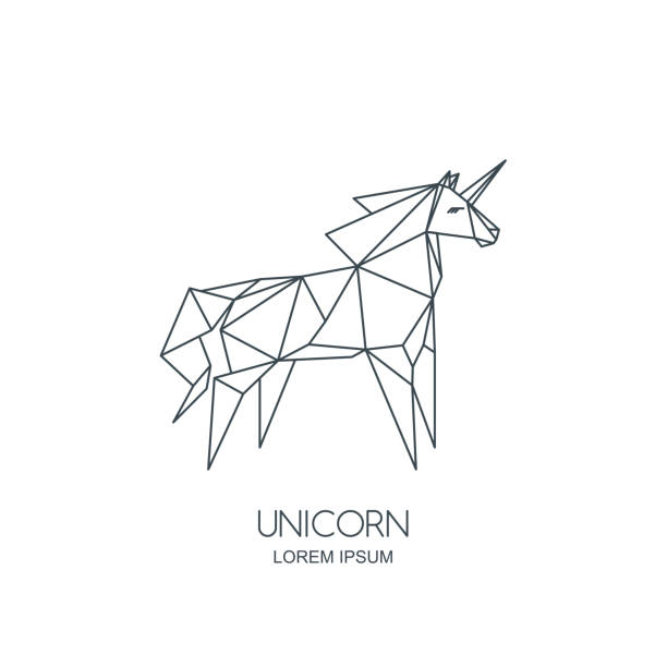 vector line art unicorn horse icon or emblem. geometric illustration for poster, wall decoration sticker, prints. - unicorn line drawings stock illustrations, clip art, cartoons, & icons