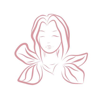 Vector line art woman illustration