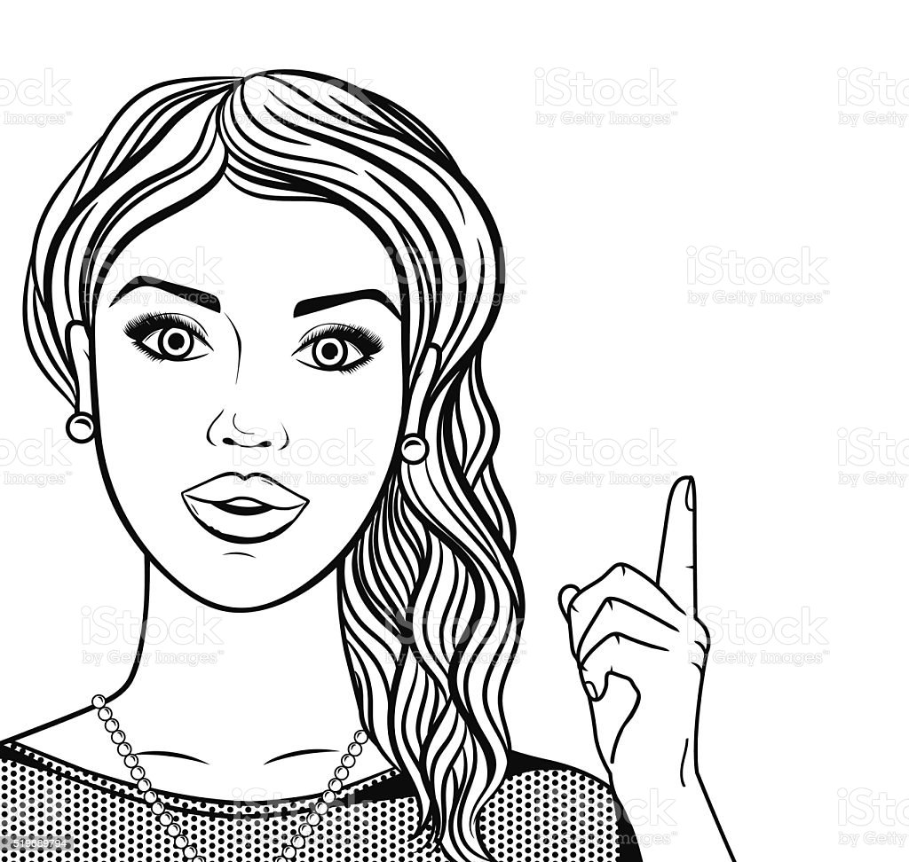 Line Art Woman : Vector line art woman thinking with hand pointing up