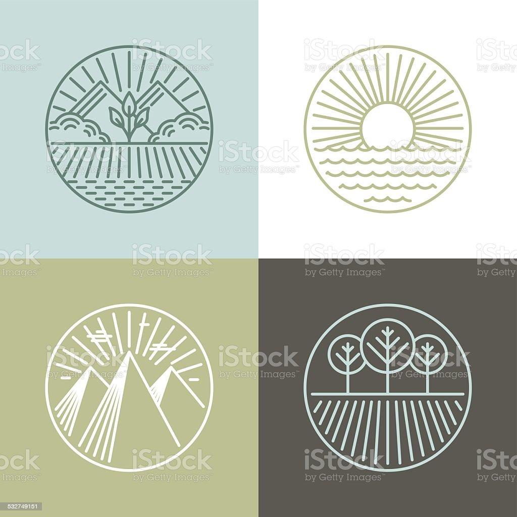 Vector line badges with landscapes vector art illustration