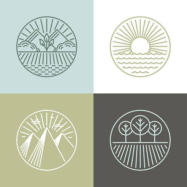 vector line badges with landscapes - corn field stock illustrations, clip art, cartoons, & icons