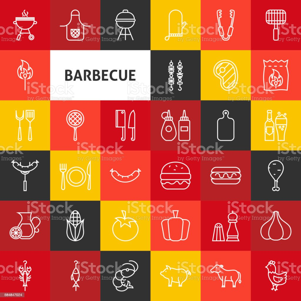 Vector Line Barbecue Icons vector art illustration