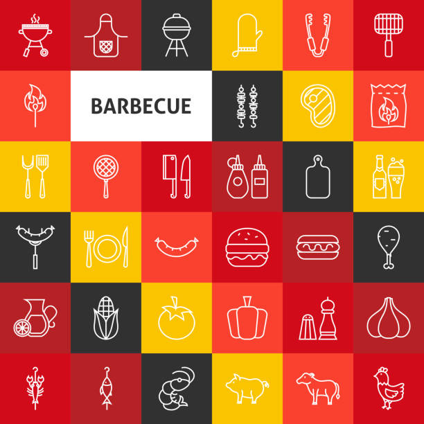 Vector Line Barbecue Icons - illustrazione arte vettoriale