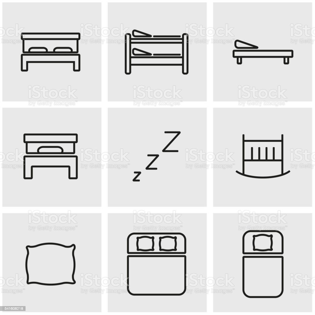 Vector line bed icon set vector art illustration