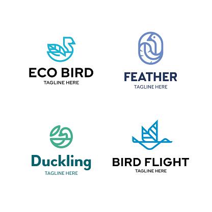 Vector Line Bird icon Set