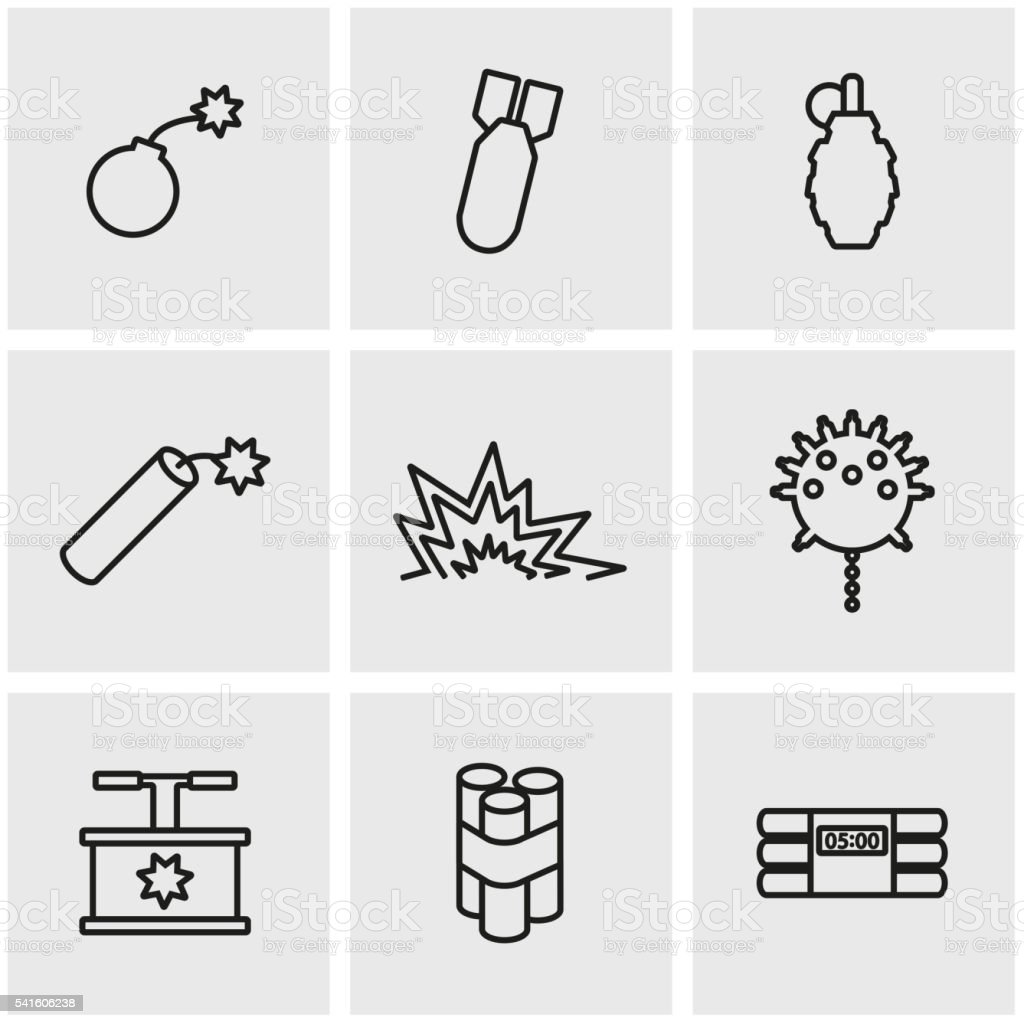 Vector line bomb icon set vector art illustration