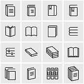 Vector line book icon set