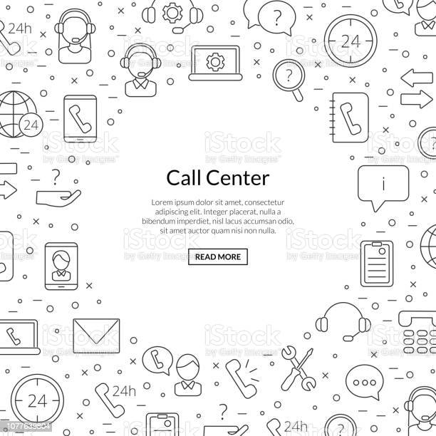 Vector Line Call Support Center Icons Background With Place For Text Illustration Stock Illustration Download Image Now Istock