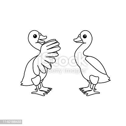 vector line cartoon animal clip art goose birds