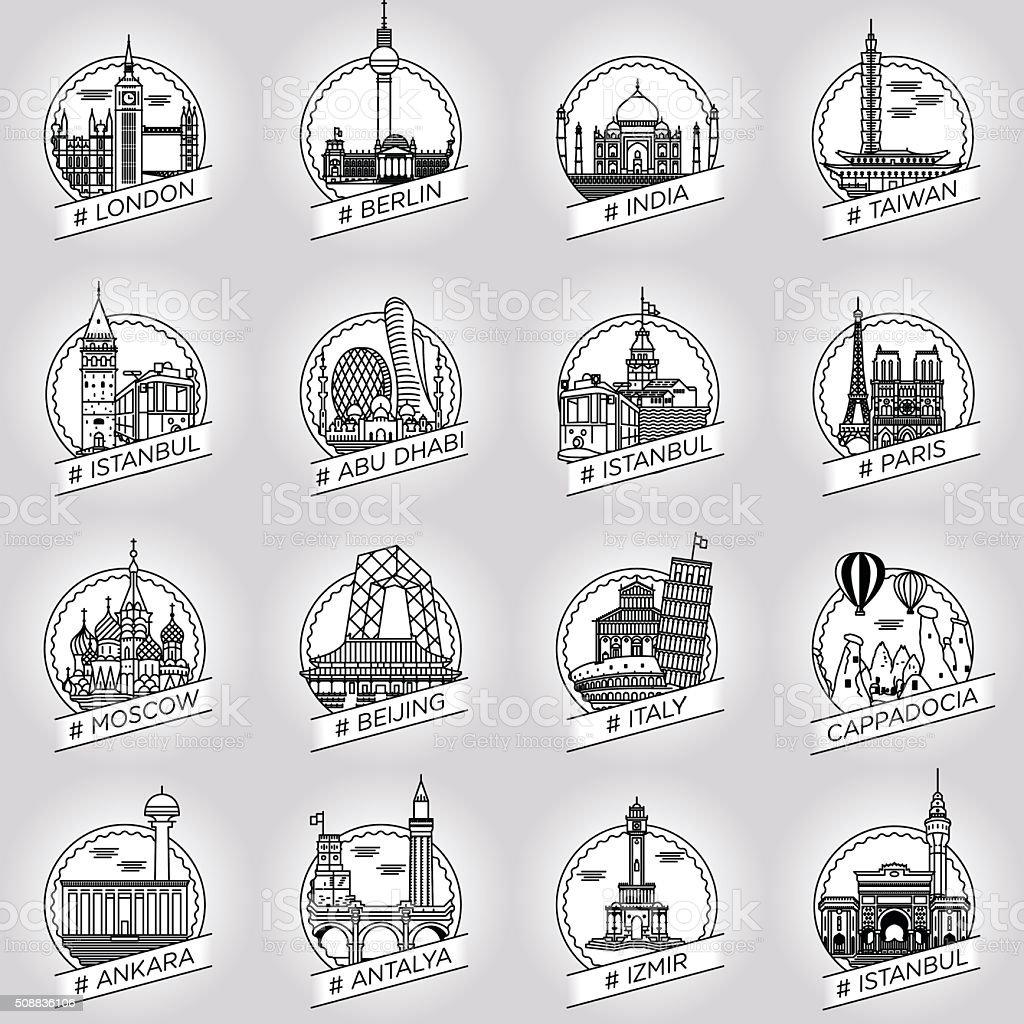 vector line city and country historical building badge set vektör sanat illüstrasyonu