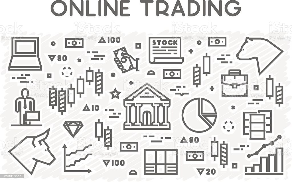 Vector line concept of online trading vector art illustration