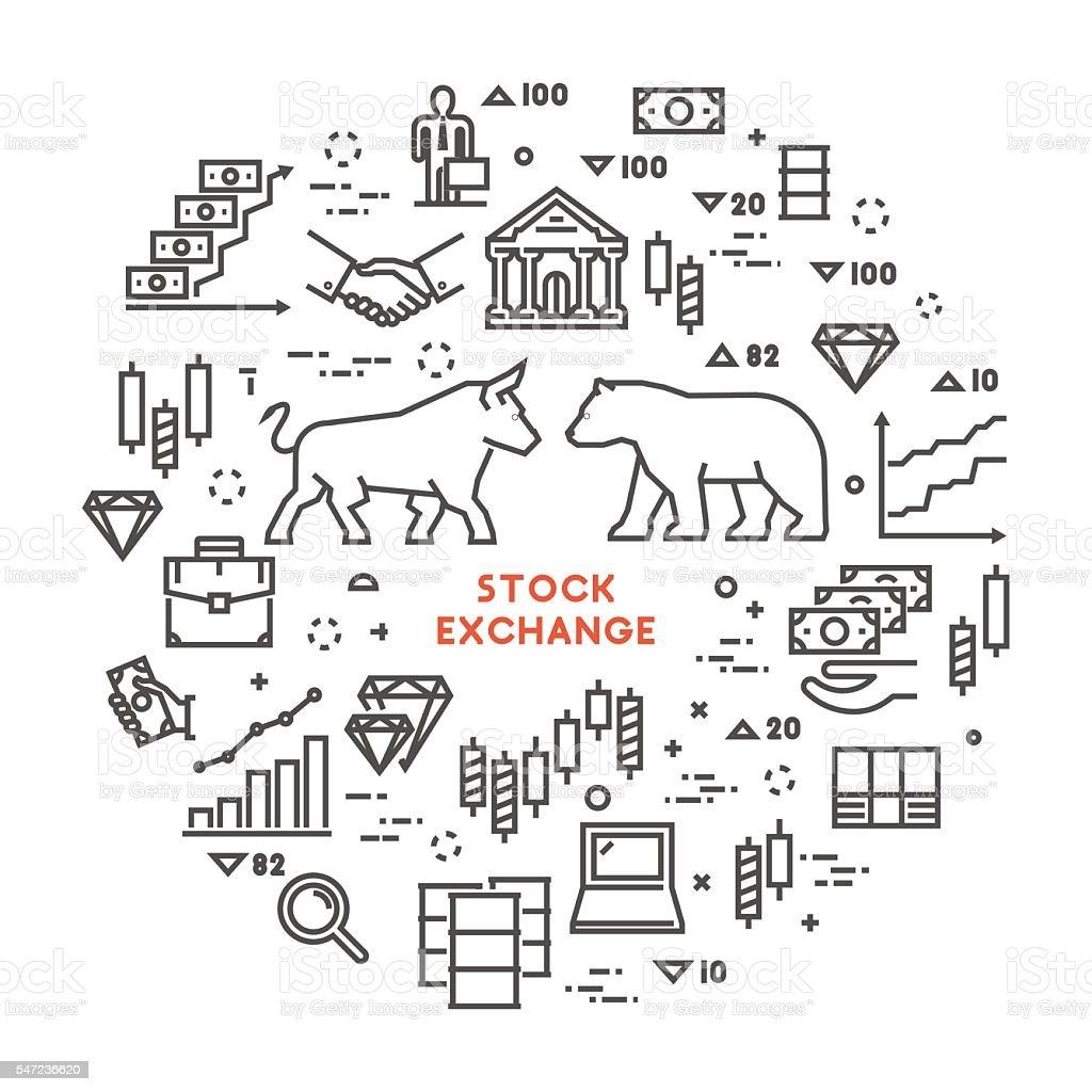 Vector line concept stock exchange vector art illustration