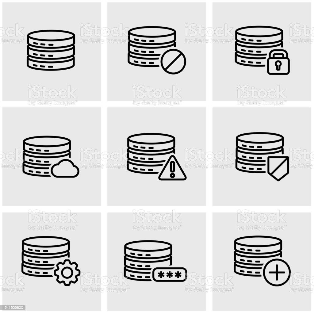 Vector line database icon set vector art illustration