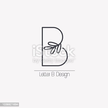 Vector line decorative letter B icon with decorative elements in the form of an elegant leaf branch.