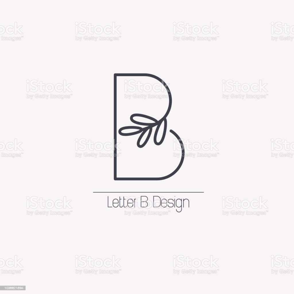 Vector line decorative letter B icon with decorative elements in the form of an elegant leaf branch. vector art illustration