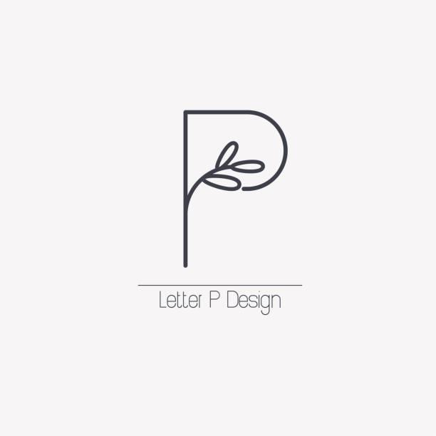 stockillustraties, clipart, cartoons en iconen met vector lijn decoratieve letter p embleem met decoratieve elementen in de vorm van een elegante blad tak. - letter p