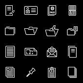 Vector line document icon set