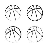 Vector line drawing basketball icon