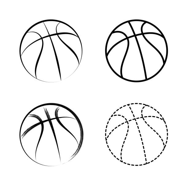 Vector line drawing basketball icon Vector line drawing basketball icon basketball stock illustrations