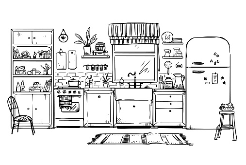 vector line drawing of a cozy kitchen