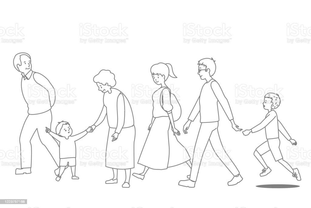 3 世代ファミリのベクトル線描画セット - アクティブシニアのロイヤリティフリーベクトルアート
