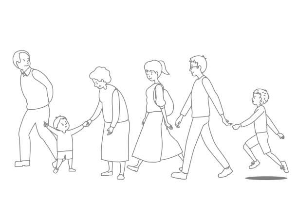 3 世代ファミリのベクトル線描画セット - 家族 日本人点のイラスト素材/クリップアート素材/マンガ素材/アイコン素材