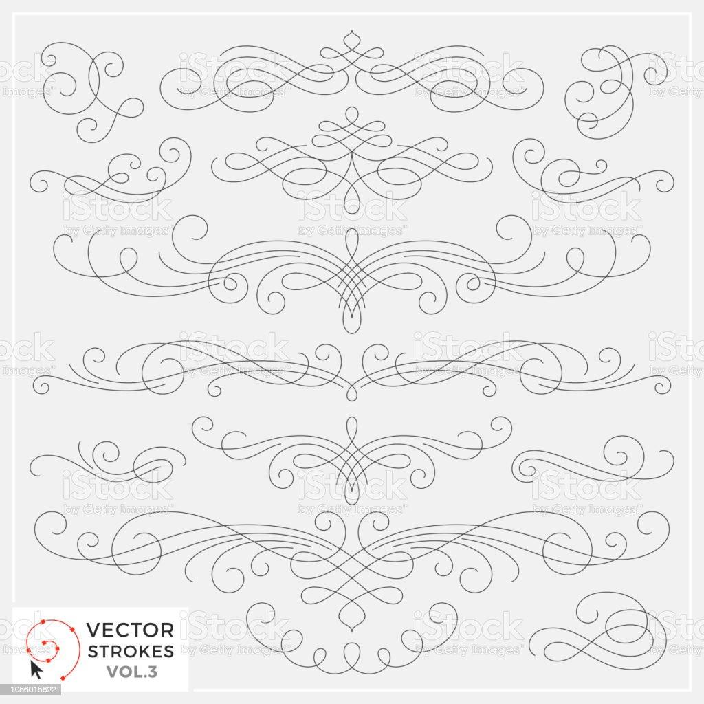 Vector Line Drawing Swirls vector art illustration