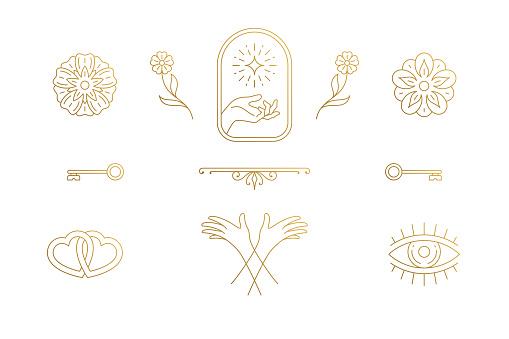 Vector line elegant decoration design elements set - flowers and gesture hands illustrations minimal linear style