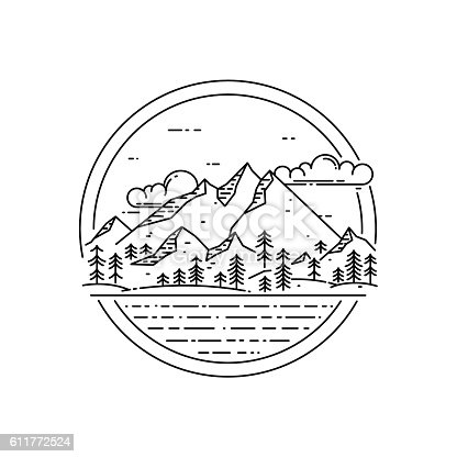 Vector line emblem with mountain landscape, forest, sea and clouds. Travel concept, beautiful nature exploration label
