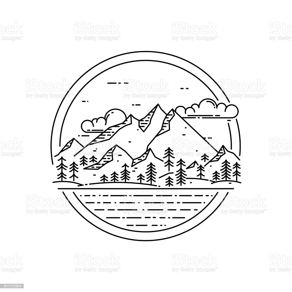 Vector line emblem with mountain landscape, forest, sea and clouds. - ilustração de arte vetorial