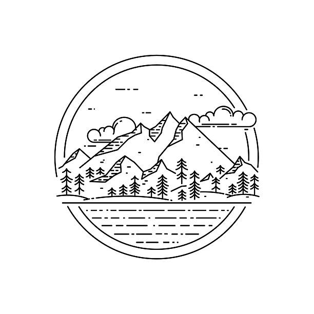 ilustraciones, imágenes clip art, dibujos animados e iconos de stock de vector line emblem with mountain landscape, forest, sea and clouds. - viaje a la naturaleza