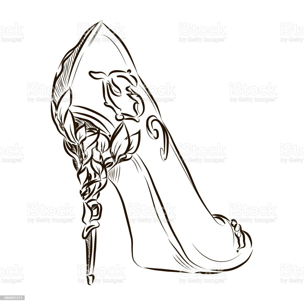 Vector Line Fashion High Heels Sketch Illustration Stock ...