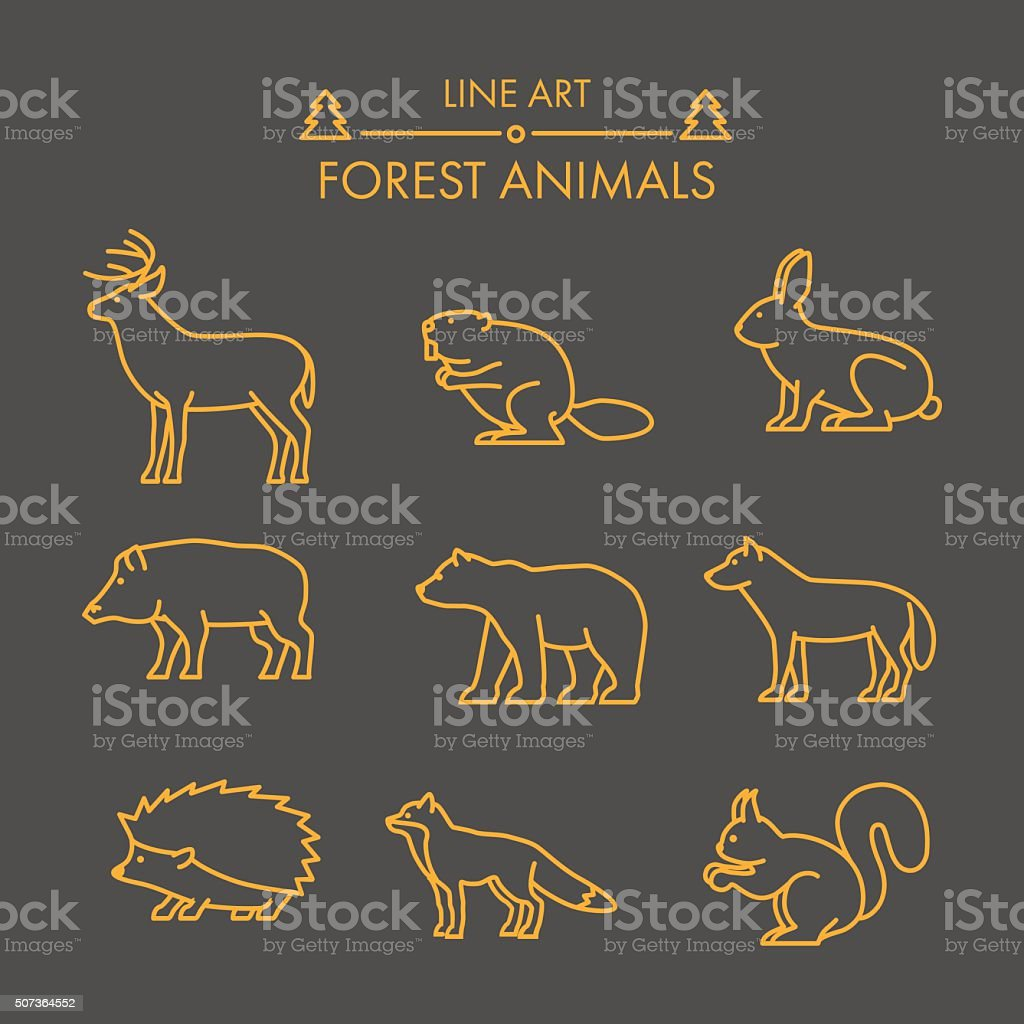 Vector line forest animals icon set. vector art illustration