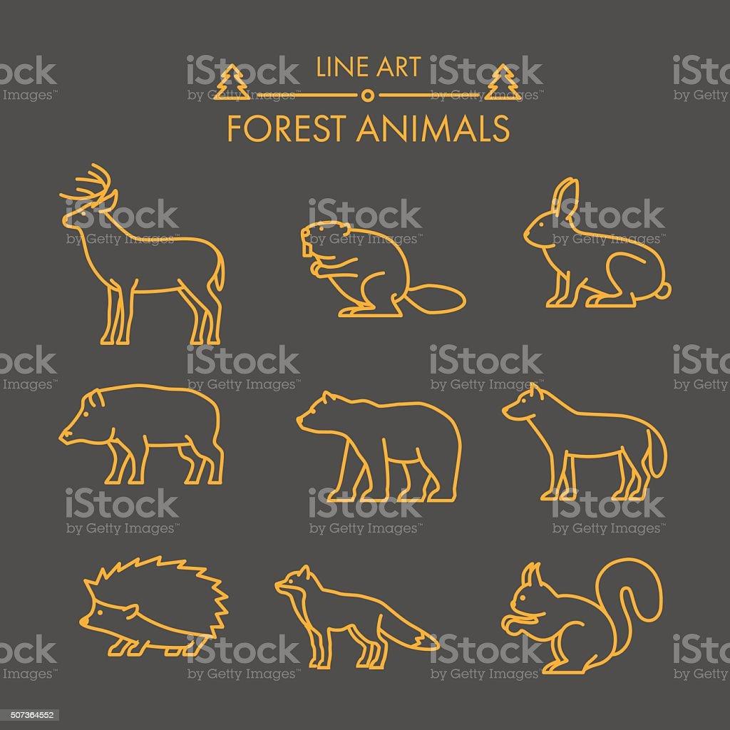 Ligne d'animaux de la forêt Vector ensemble de icône. - Illustration vectorielle